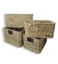 GAIA Rectangular Water Hyacinth Basket with Beveled Edges Choose from Small Medium Large or XLarge