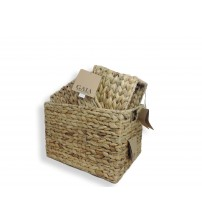 GAIA Water Hyacinth Basket, Hand Woven, Iron Frame, Fish Bone Weave, Choose from Small, Medium, Large or X Large