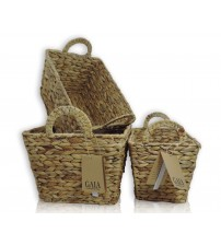GAIA Water Hyacinth Handmade Storage Basket with Tapered Bottom and Handles Choose from Small, Medium, Large or X Large