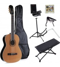 ADM Full Size Student Beginner Guitar D'Addario Nylon-String Classical Guitar with Gig Bag & E-tuner