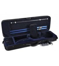 ADM® Basic Oblong Shape Foam Super Light Violin Case- Black/Navy Blue HL12-44