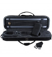 ADM® Full Size Oblong Shape Lightwight Violin Case with Hygrometer and Carry Straps