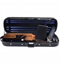 ADM® Professional Sturdy Violin Case 4/4 Full Size, Oblong Wooden Hard Case for Good Violin with Hygrometer, Lock, Spacious Compartments and Adjustable Straps, Leather Handle, Sturdy - Black / Blue