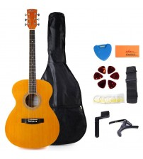 ADM 40 Inch Spruce MINI Jumbo 6 Steel Strings Acoustic Guitar Kit, Starter Bundle, Beginner Pack with Gig Bag, Stand and Picks, etc., Gloss Brown
