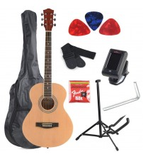 ADM 38 Inch Acousitc Guitar Starter Package with tuner guitar stand, gig bag, extra strings, picks, beginner kits, Glossy Natural Finish