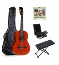 ADM 39 Inch Full Size Nylon-String Classical Guitar Set (Gig Bag, E-tuner, Extra Strings & Footstool)