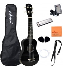 "ADM 21"" Economic Soprano Ukulele Start Pack with Gig bag, Tuner, Black"