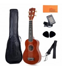 "ADM 21"" Economic Soprano Ukulele Start Pack with Gig bag, Tuner, Mahogany Brown"