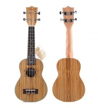 ADM 21 Inch Deluxe Zebrawood Starter Soprano Ukulele with Aquila Strings, Beginner Kit Natural