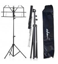 ADM Folding Adjustable Music Stand with Carrying Bag, Portable Metal Stand for Sheet Music, Black