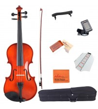 ADM 1/10 Size Handcrafted Solid Wood Student Acoustic Violin Starter Kit, Red Brown