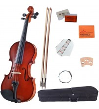 ADM 4/4 Full Size Handcrafted Solid Wood Student Acoustic Violin Starter Kit, Red Brown VLP23-44
