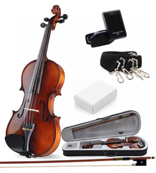 ADM 4/4 Size Wood Acoustic Violin Outfit with Ebony Fitted and Violin Hard Case, Violin Bundle for Student