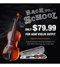 ADM 4/4 1/2 Size Wood Acoustic Violin Outfit with Ebony Fitted and Violin Hard Case, Violin Bundle for Student