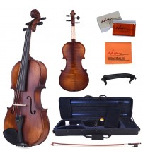 ADM 1/2 Half Size Intermediate Solid Wood Acoustic Violin Outfit, Beginner Kit with Violin Hard Case, Professional Violin for Advanced Student, Brown VLZ32-12
