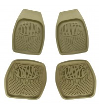 APZONA 4pc Full Set PVC Ridged Heavy Duty Rubber Floor Mats, Universal Fit Mats for Most Cars, SUVs, Vans & Trucks - Front & Rear, Driver & Passenger Seat (Beige)