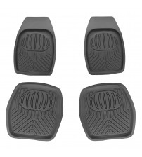 APZONA 4pc Full Set PVC Ridged Heavy Duty Rubber Floor Mats, Universal Fit Mats for Most Cars, SUVs, Vans & Trucks - Front & Rear, Driver & Passenger Seat (Grey)
