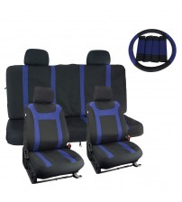 APZONA 17pc Mesh Fabric Bucket Seat Covers Universal Full Set,Front Airbag Compatible,Rear 3 zippers and 2 eye-splices,Black/Blue Fit Most Cars, Trucks, SUVs or Vans