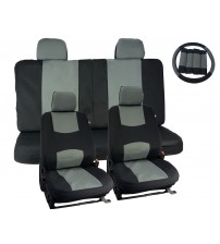 APZONA Universal Seat Covers 17pc Set Black and Grey Fit Most Cars, Trucks, SUVs, Vans