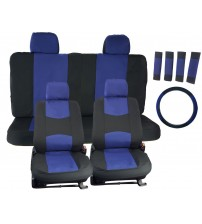 APZONA Universal Seat Covers 17pc Set Black and Blue Fit Most Cars, Trucks, SUVs, Vans