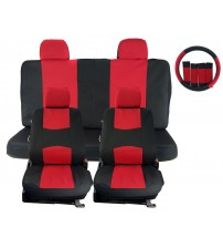 APZONA Universal Seat Covers 17pc Set Black and Red Fit Most Cars, Trucks, SUVs, Vans