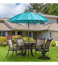 Abba Patio 8.5' Round Parasol Patio Umbrella with Push Button Tilt and Crank, 24 Steel Wire Ribs, UV Resistant Fabric, Turquoise