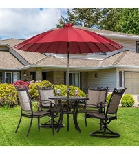 Abba Patio 8.5' Round Parasol Patio Umbrella with Push Button Tilt and Crank, 24 Steel Wire Ribs, UV Resistant Fabric, Red