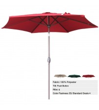 Abba Patio 9 Ft Market Aluminum Umbrella with Push Button Tilt and Crank, 6 Steel Ribs, 100% Polyester, Red