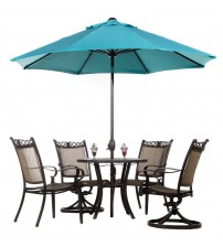 Abba Patio 9' Fade Resistant Sunbrella Fabric Aluminum Patio Umbrella with Auto Tilt and Crank, Alu. 8 Ribs, Turquoise