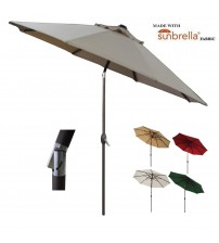 Abba Patio® 9 Ft Market Aluminum Umbrella with Auto Tilt and Crank, Sunbrella,Beige