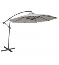 Abba Patio® Deluxe Ivory 10 Ft Adjustable Offset Cantilever Hanging Patio Umbrella with Base and Crank, UV Resistant, Water resistant PU Coated Polyester, Air Vented Top, Ivory