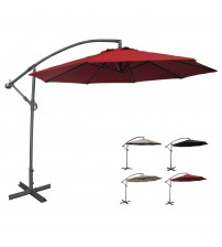 Abba Patio® 10 Ft Offset Cantilever Hanging Patio Umbrella with Cross Base and Crank, Polyester Fabric, Dark Red