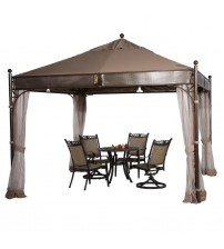 Abba Patio 11.5 X 11.5 ft Outdoor Art Steel Frame Garden Party Canopy Backyard Gazebo with 4 Side Walls, Brown