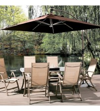 Abba Patio 8 ft Square Outdoor Solar Powered 32 LED Cantilever Crank Lift Patio Umbrella With Base, Coffee
