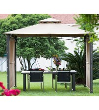 Abba Patio 10 X 10 ft Outdoor Art Steel Frame Backyard Party Tent Vented Shelter Patio Gazebo Canopy with 2 Swing Walls, Beige