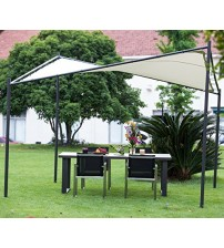 Abba Patio Steel/ Polyester Fabric Square Butterfly Gazebo, 12 x 12 ft, Ecru color