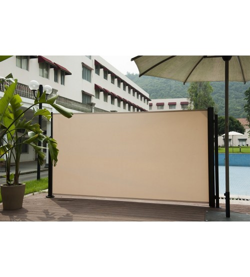 Abba patio retractable folding screen privacy divider with for Retractable outdoor screens