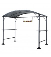 Abba patio Outdoor Backyard BBQ Grill Gazebo Cover Tent Made of Steel with Canopy, 9 x 5 ft, Gray