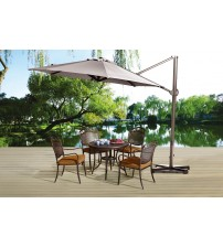 Abba Patio 11 Ft Aluminum Offset Cantilever Umbrella, Outdoor Hanging Parasol with Cross Base and Vertical Tilt, Olefin Fabric, Tan