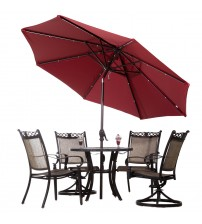 Abba Patio Aluminum Round Solar Powered 28 LED Light Tilt Patio Umbrella, Dark Red