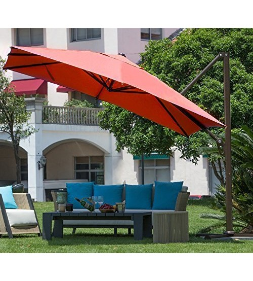 Abba Patio 10 Ft Square Easy Open Offset Outdoor Umbrella Square Parasol  With Cross Base, Dark Red