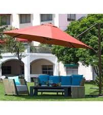 Abba Patio 11 ft Octagon Cantilever Vented Tilt & Crank Lift Patio Umbrella with Cross Base, Dark Red