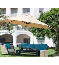 Abba Patio 11 ft Octagon Cantilever Vented Tilt & Crank Lift Patio Umbrella with Cross Base, Yellow