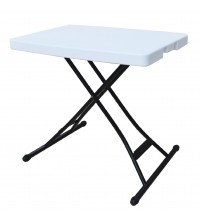 Ares Adjustable Folding Table, 26 by 20 Inch, White