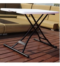 Ares Height Adjustable Folding Personal Table, 30 by 20 inches, White