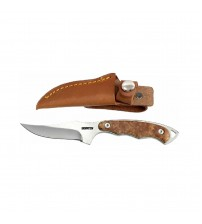 Dispatch Fixed Blade Hunting Knife, Straight Edge Blade, White Raiz Wood Handle, 7-Inch Length DP2010