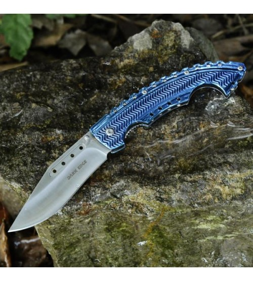 Dark Edge Folding Hunting Knife, Liner Lock Assisted Opening Folding Pocket Knife, Titanium Handle, 5 Inch Closed, Blue - DE1006