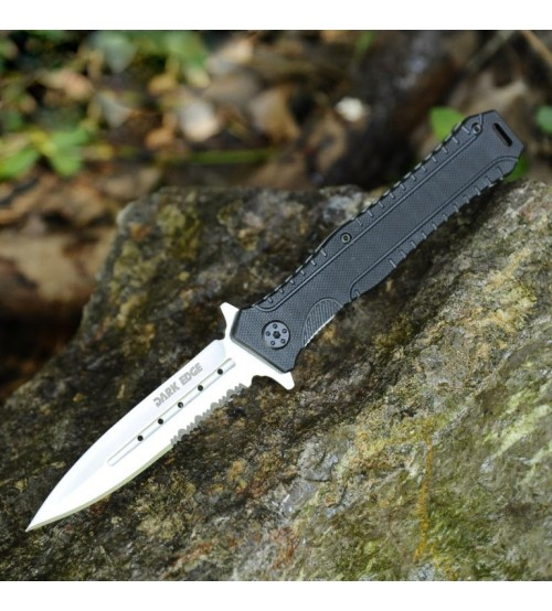 Dark Edge Folding Hunting Knife, Liner Lock Assisted Opening Folding Tactical Knife, Razor Sharp and Triple-Point Serrated Edge, 4.75 Inch Closed - DE1009