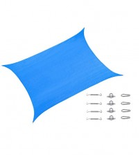 Cool Area Rectangle 9'10'' X 13' Sun Shade Sail with Stainless Steel Hardware Kit,Perfect For Outdoor Patio Garden Swimming Pool In Color Blue