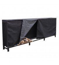 HIO Firewood Cover 12 Feet Log Wood Storage Rack Cover, Fireplace Accessories, Black FRC12FT